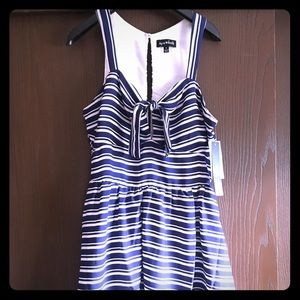 Sequin hearts blue and white fit and flare dress